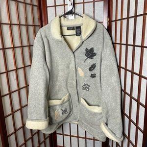 Gray leaf Sherpa soft cozy jacket